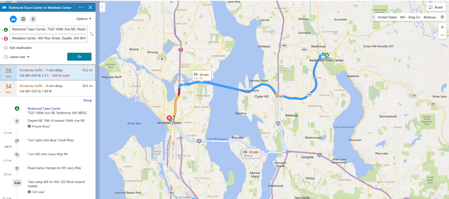 Easily Choose Your Route with Bing Maps Traffic Coloring.