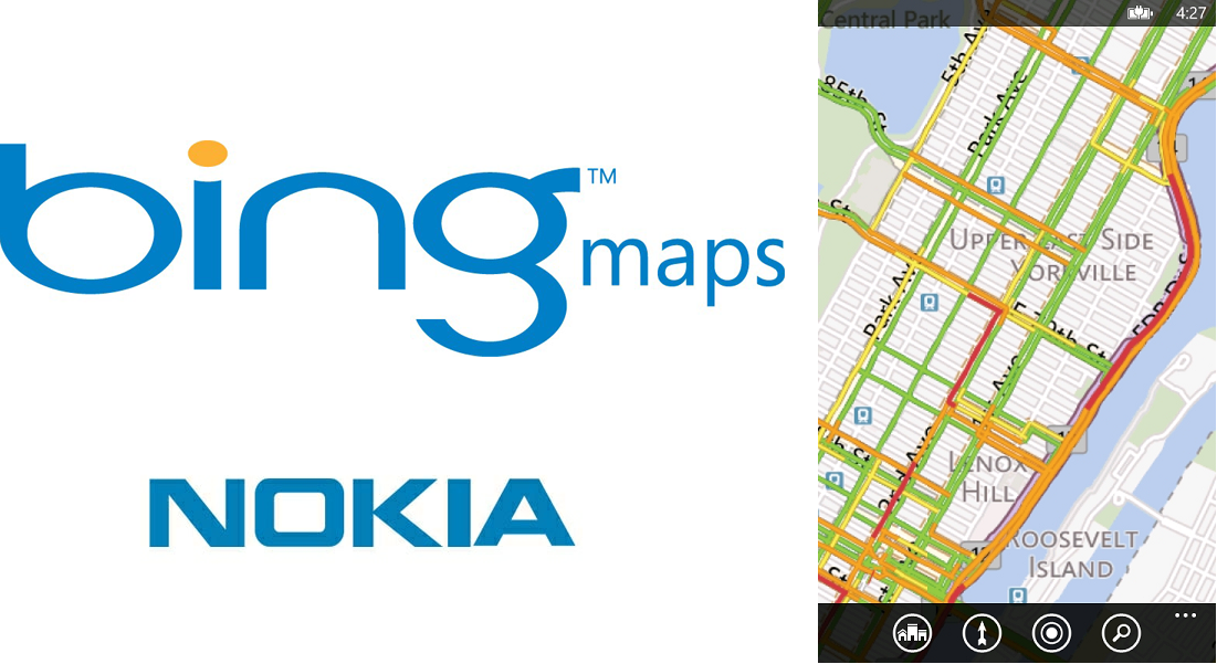Bing Maps now powered by Nokia for traffic and geocoding.