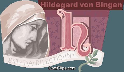 Hildegard von Bingen Royalty Free Vector Clip Art illustration.