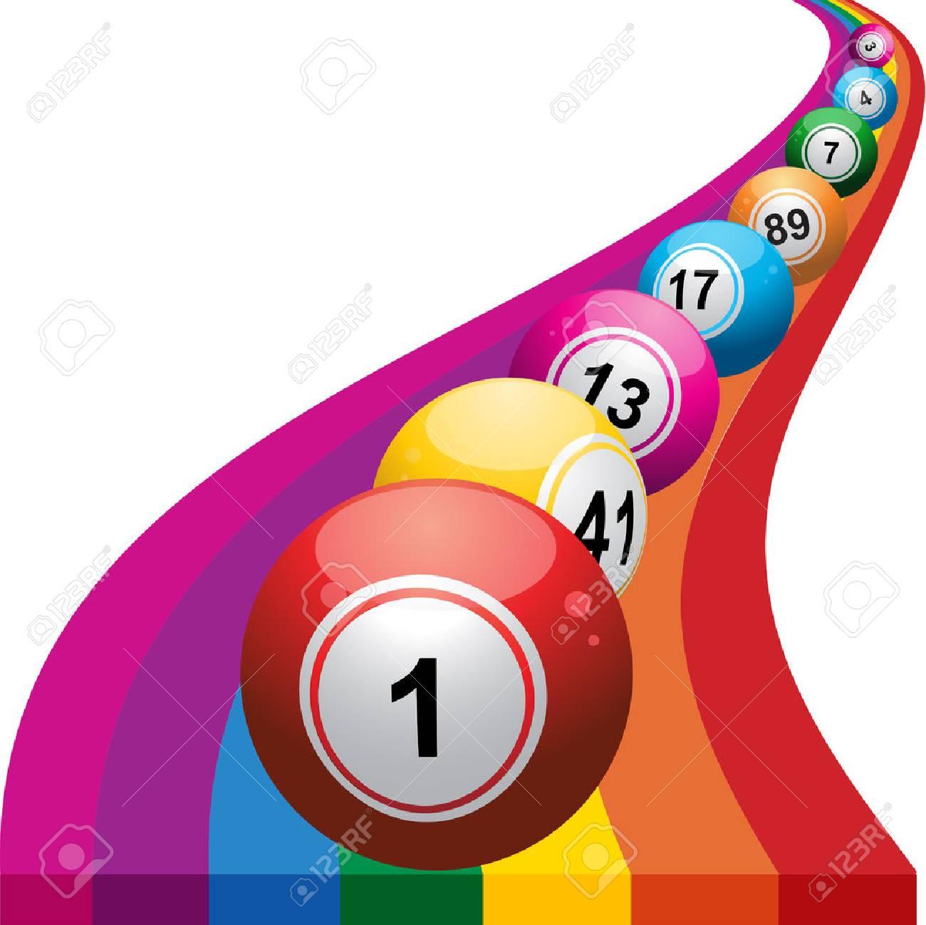 Bingo Balls Rolling on a Colorfull Raimbow.