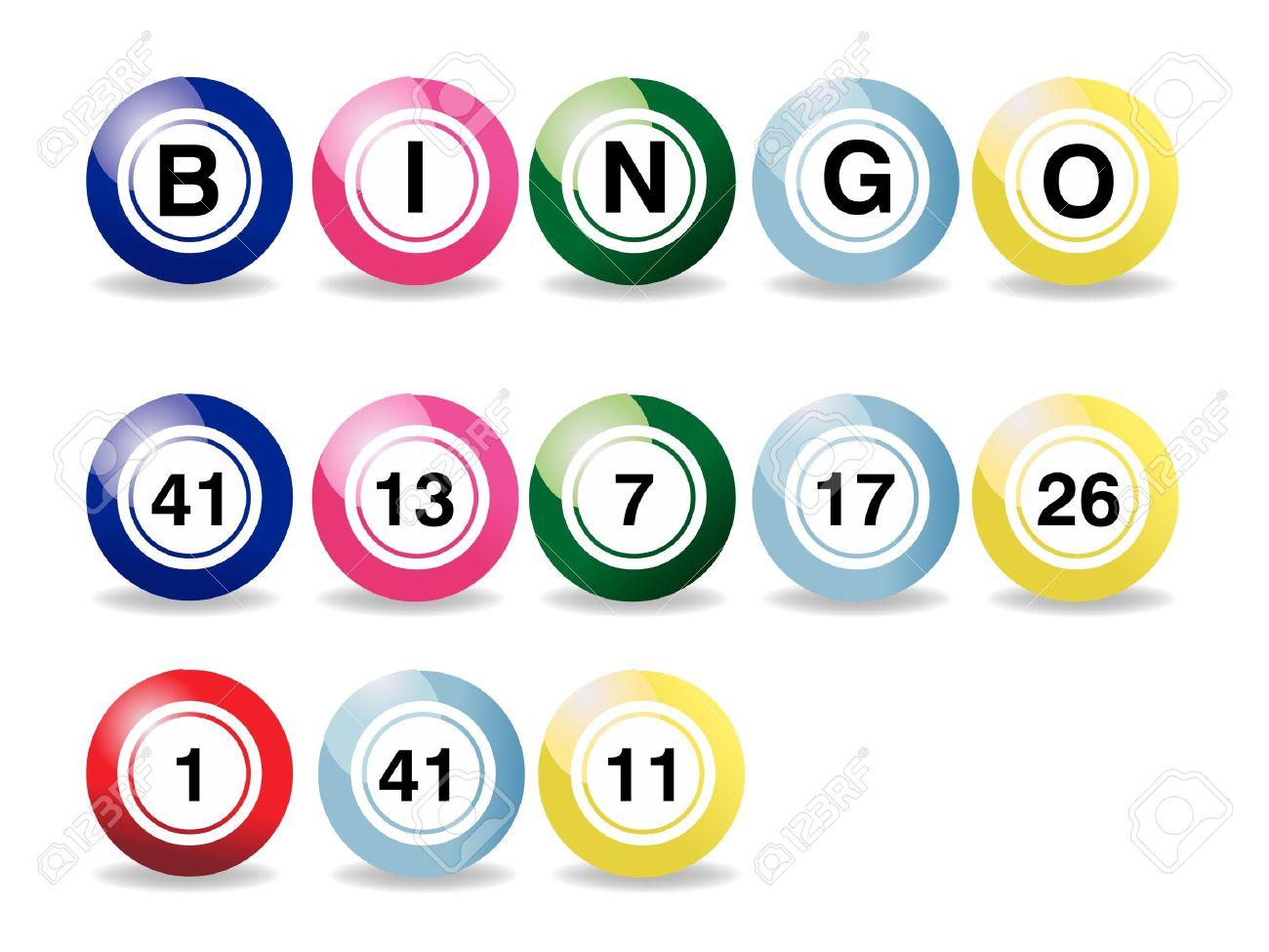 set of coloured bingo balls on a white background.