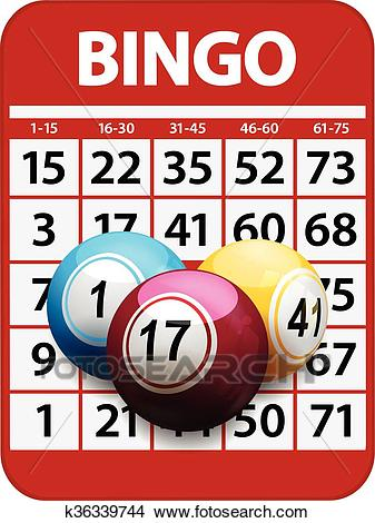 Bingo card and balls background Clipart.