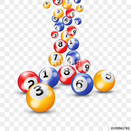 Bingo lottery 3d balls for keno lotto on vector transparent.