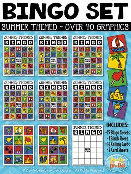 SUMMER Bingo Cards Printable & Clipart Set {Zip.