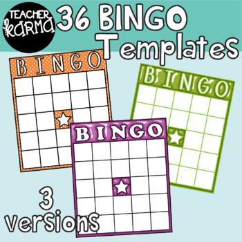 BINGO Board Templates: BRIGHT & SHINY Clipart BUNDLE.