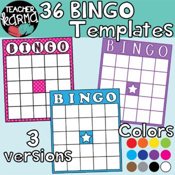 BINGO Board Templates: Rainbow Colors Clipart BUNDLE.