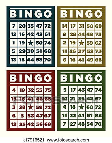 Bingo Retro Cards Clipart.