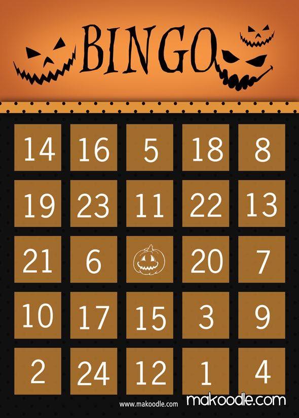 Pumpkin Halloween Bingo Card.