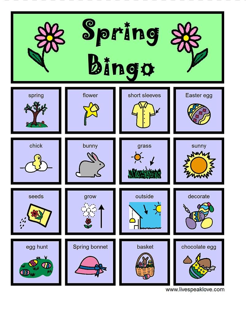 Bingo card Spring , Bingo Card transparent background PNG clipart.