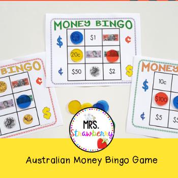 Australian Money Bingo Game.