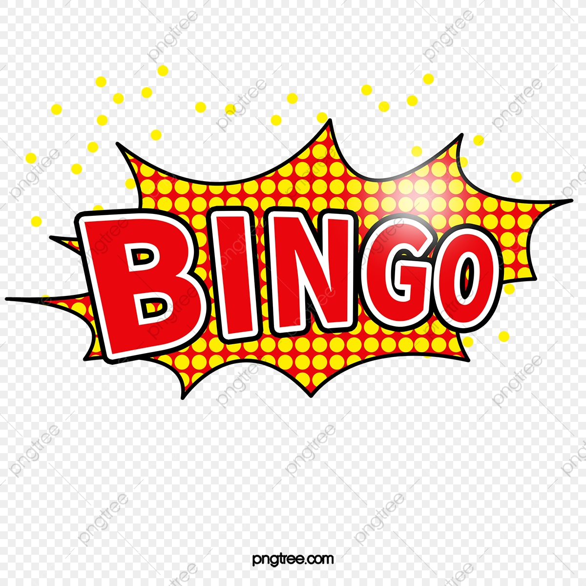 Bingo, Cloud Explosion, Red PNG Transparent Clipart Image and PSD.
