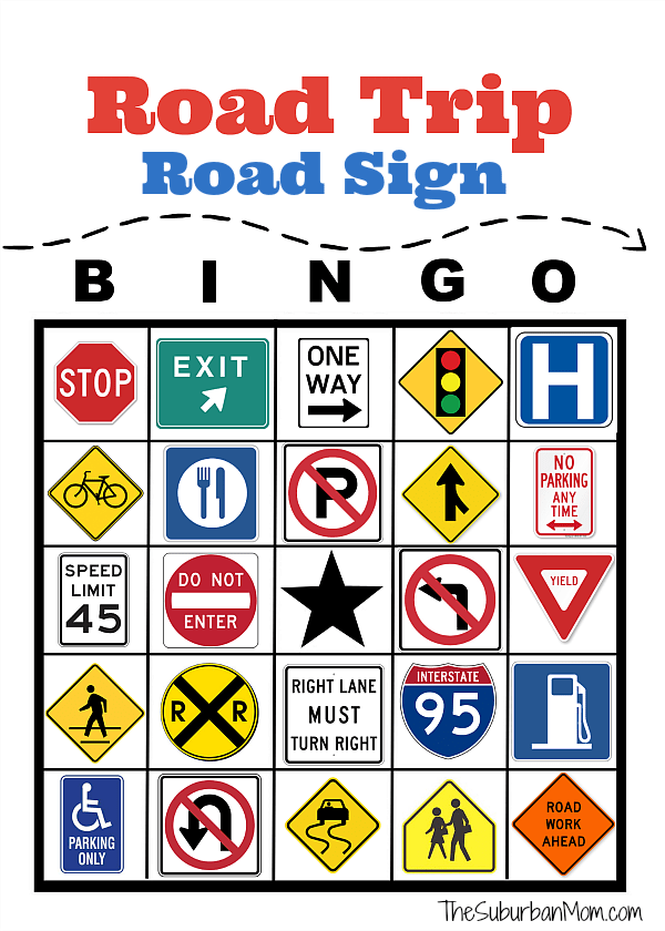 Road Trip Restaurant Bingo Free Printable.