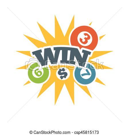 Yellow win badge in lottery with bingo numbers logo.