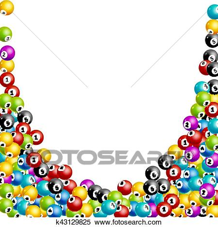 Bingo lottery balls numbers background. Lottery game balls. Lotto winner.  Falling balls template Clipart.