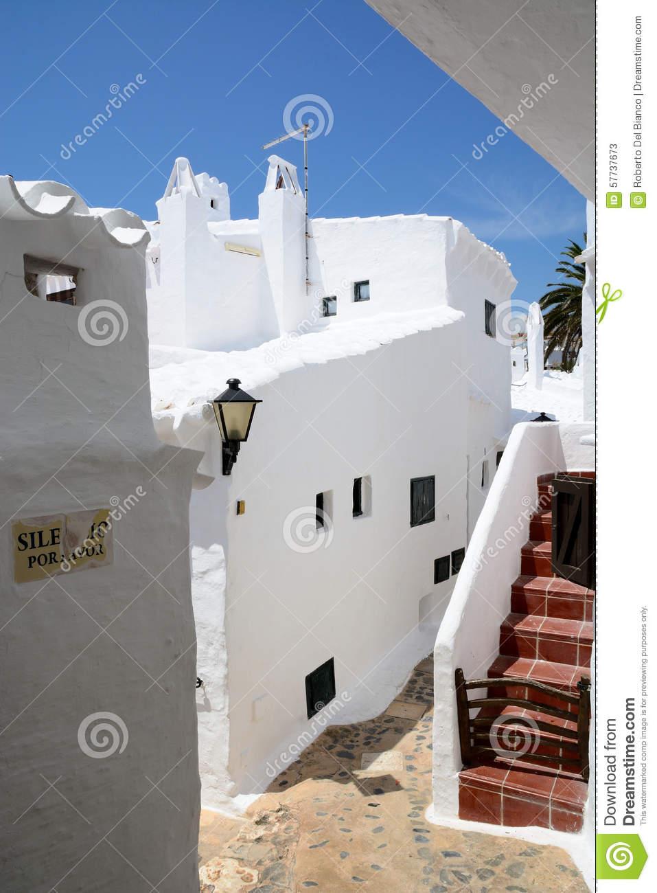 Binibeca Alley White Village, Menorca, Spain Stock Photo.