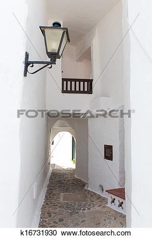 Stock Photography of Binibequer Vell in Menorca Binibeca white.