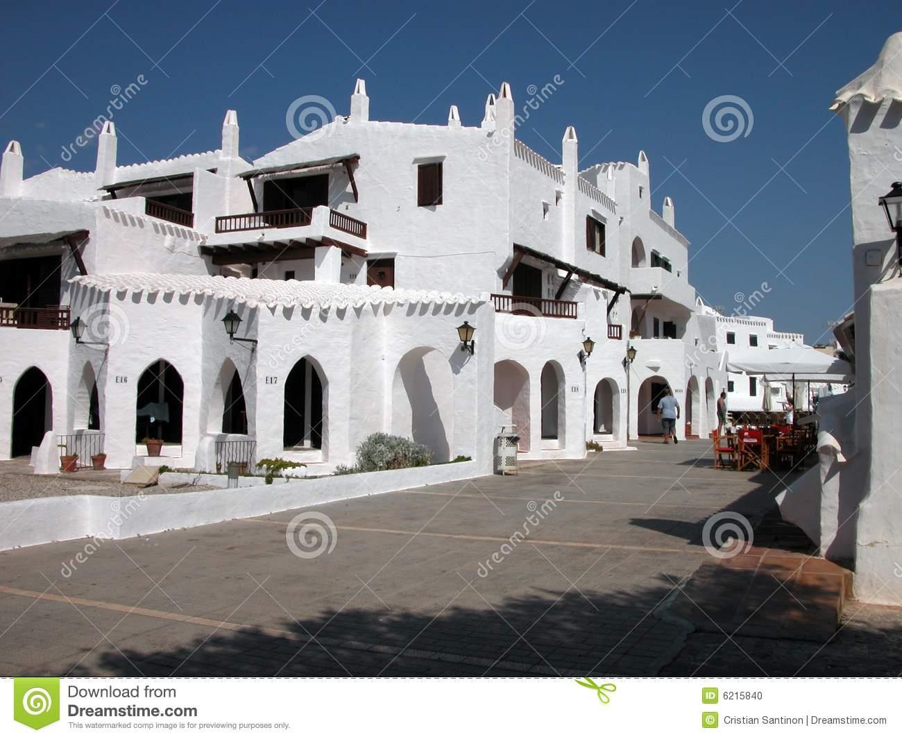 Menorca Binibeca City Stock Photo.