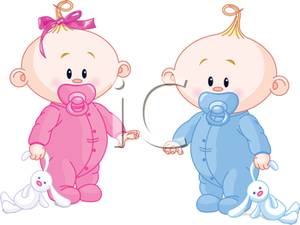 Picture: A Baby Boy and Baby Girl with Stuffed Animals and Pacifiers.