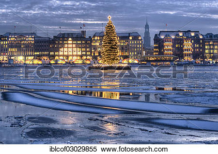 """Stock Image of """"Binnenalster or Inner Alster Lake with a Christmas."""