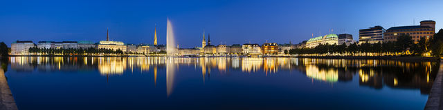 Hamburg Alster Fountain At Night Stock Photo.