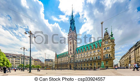 Stock Images of Hamburg town hall at market square in Altstadt.