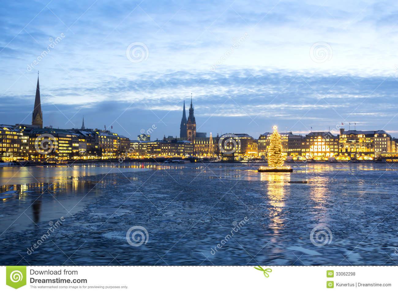 Hamburg Alster Lake At Christmas Royalty Free Stock Photos.