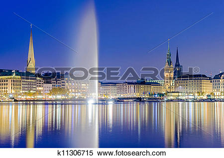 Stock Image of The Alster Lake in Hamburg, Germany k11306715.