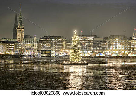 """Stock Photography of """"Binnenalster or Inner Alster Lake with a."""