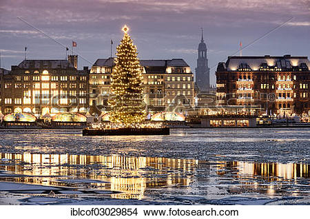 """Stock Photo of """"Binnenalster or Inner Alster Lake with a Christmas."""