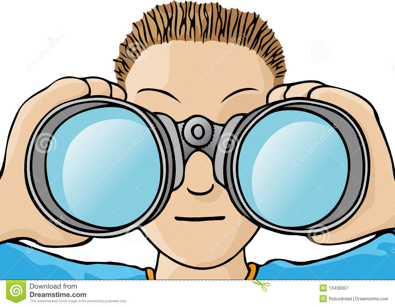 Kids with binoculars clipart.