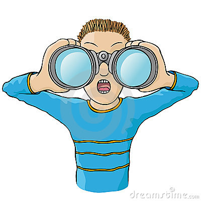 Cartoon kid looking through binoculars