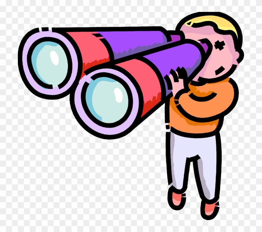 Vector Free Stock Boy Looks Through Binoculars.