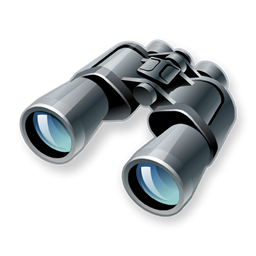 Binoculars, find, search, zoom icon.