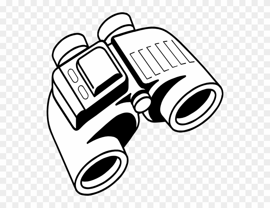 Vector Transparent Binocular Clipart Black And White.