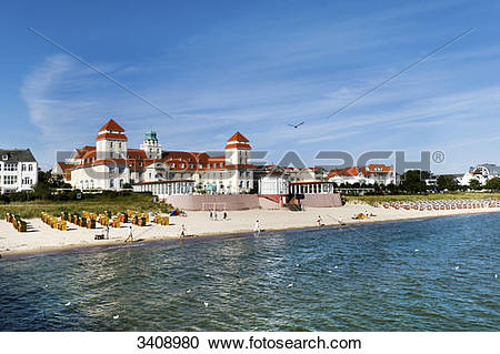 Stock Photography of Tourists on the beach of Binz, spa hotel in.