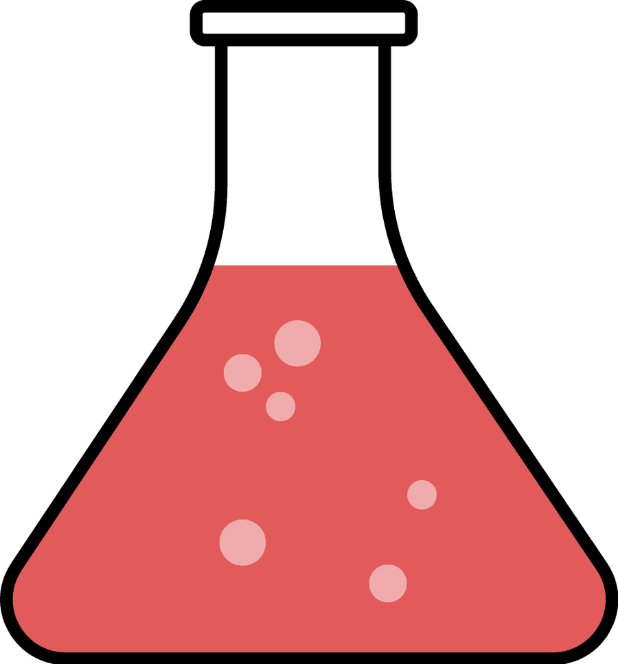 Red science flask Clipart.