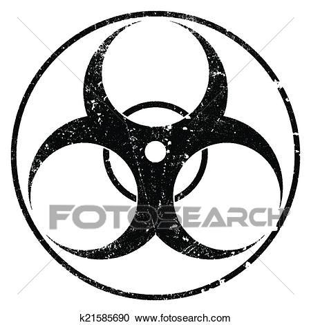 Biohazard Grunge Symbol Clipart.