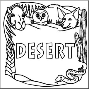 Clip Art: Biome Icons: Desert B&W I abcteach.com.