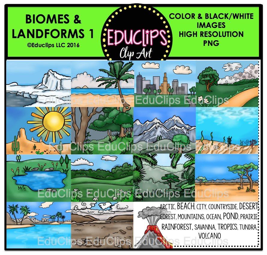 Biomes And Landforms Clip Art Bundle (Color and B&W).