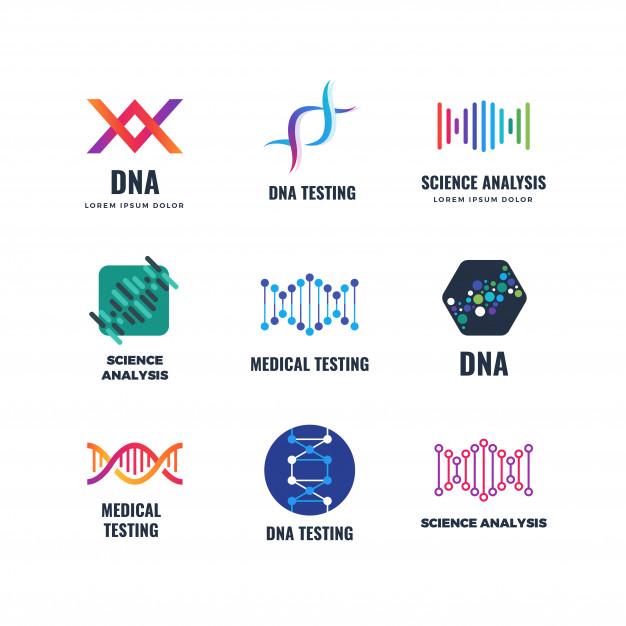Dna code biotech science genetics logo. helix molecule.