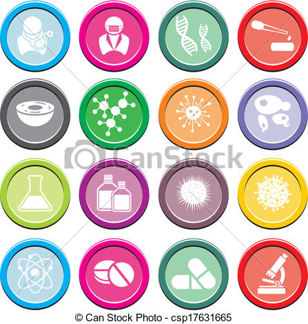 Clip Art Vector of biotechnology round icon sets.