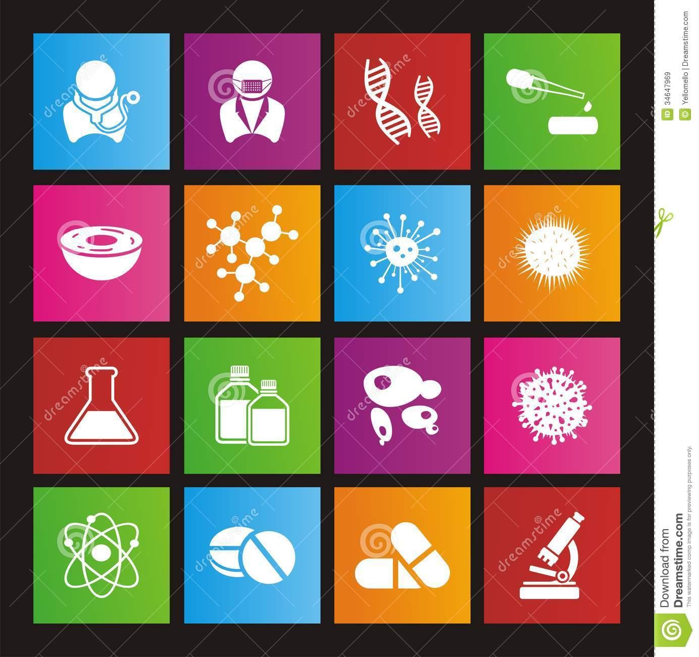 Biotechnology Flat Style Icon Sets Royalty Free Stock Photo.