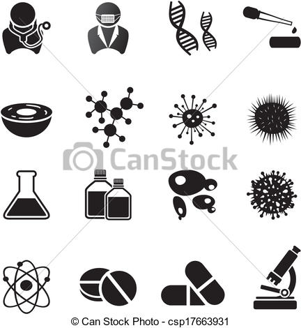 Vectors of biotechnology icon sets.