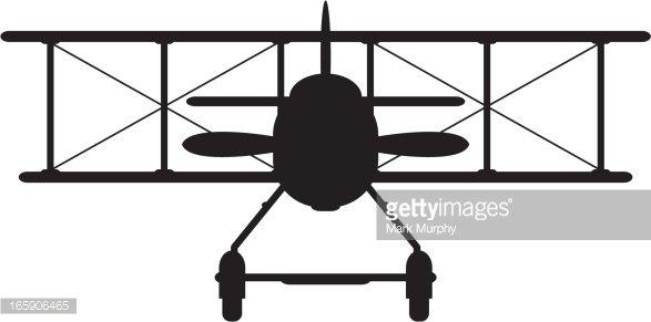Ww1 Style Military Biplane Silhouette premium clipart.