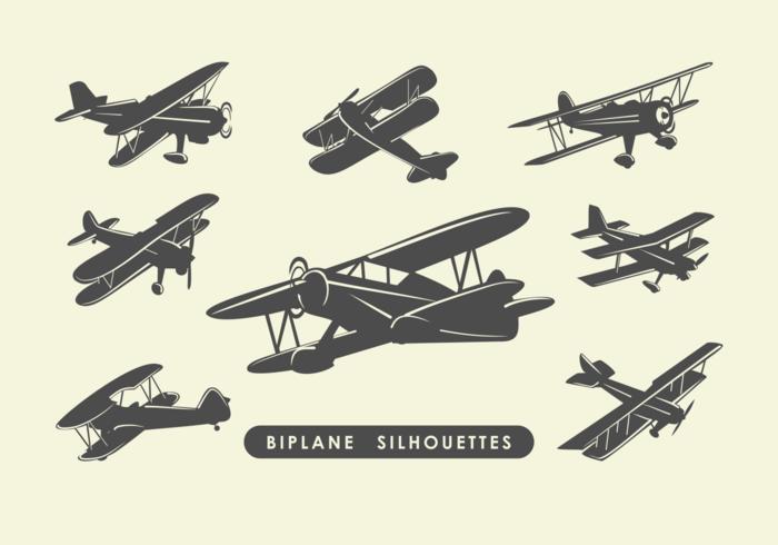 Biplane Silhouettes Vector.