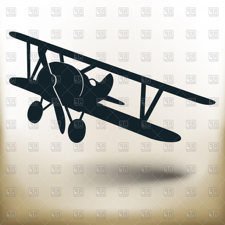 Biplane Silhouette Air Transport Vector Clipart.
