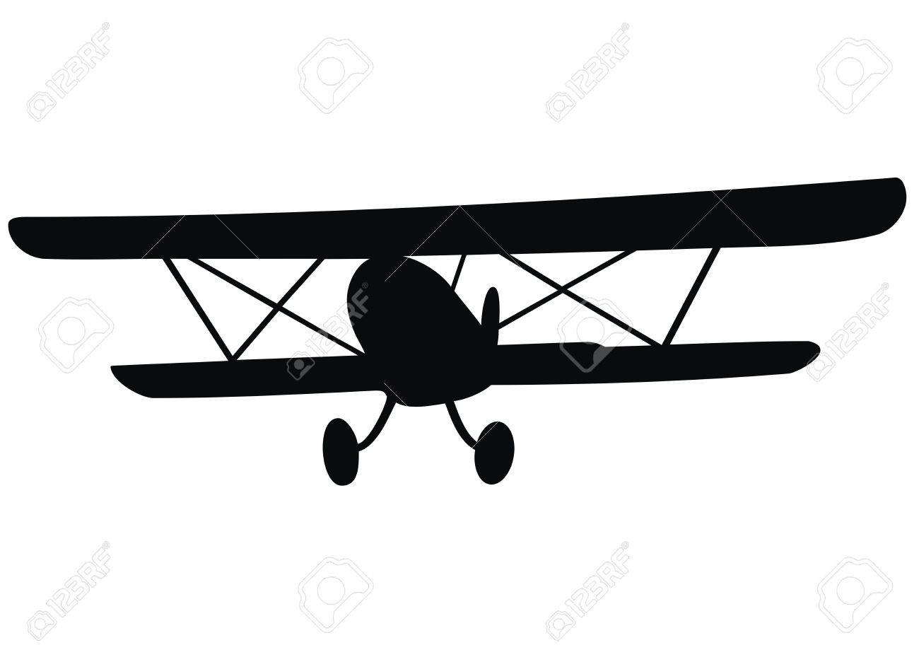 Biplane, black silhouette. Historical plane..