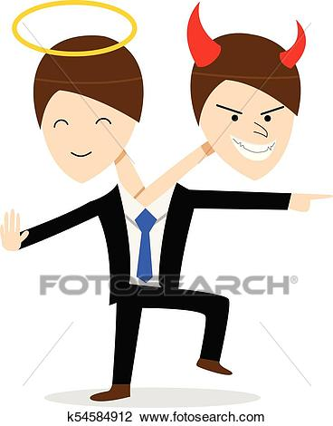 Good and Evil in same person, Bipolar Disorder Clipart.