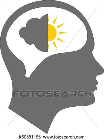 Head icon for bipolar disorder Clipart.