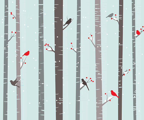 Birch tree clipart winter birch trees clip art Christmas.